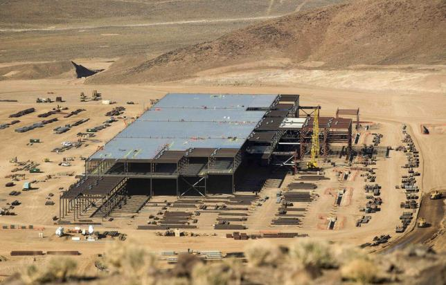Tesla battery plant near Sparks (Photo by James Glover II, Reuters)