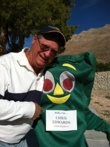 "Chuck Muth with Gumby Republican ""Chris Edwards"" in 2010"