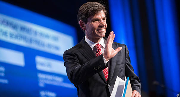 """WASHINGTON, DC - MAY 15:  George Stephanopoulos, host of Good Morning America, walks on stage at the 2012 Fiscal Summit on May 15, 2012 in Washington, DC. The third annual summit, held by the Peter G. Peterson Foundation, explored the theme """"America's Case for Action."""" (Photo by Brendan Hoffman/Getty Images)"""