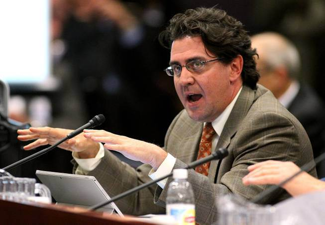 Jeremy Aguero again explains the convoluted tax plan put forward by the governor. (Source: Sun Las Vegas)