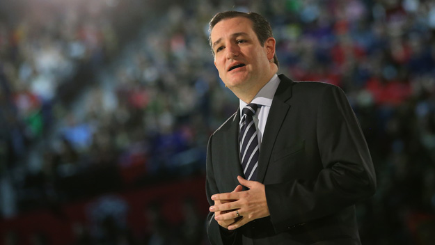 LYNCHBURG, VA - MARCH 23:  U.S. Sen. Ted Cruz (R-TX) stands on stage while speaking to a crowd gathered at Liberty University to announce his presidential candidacy March 23, 2015 in Lynchburg, Virginia. Cruz officially announced his 2016 presidential campaign for the President of the United States during the event. (Photo by Mark Wilson/Getty Images)