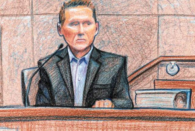 Robert Kahre on trial for tax fraud. (LVRJ illustration by David Stroud)
