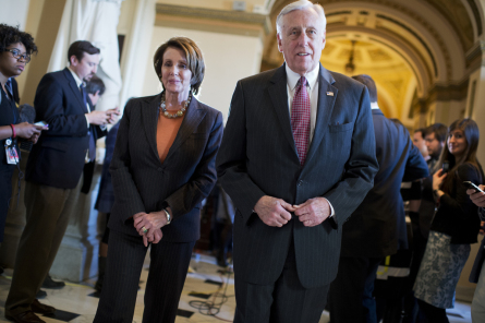 House Minority Leader Nancy Pelosi, D-Calif., and Minority Whip Steny Hoyer, D-Md., leave a news conference on the DHS funding bill in the Capitol's Will Rogers hallway, February 27, 2015. (Photo By Tom Williams, Roll Call)