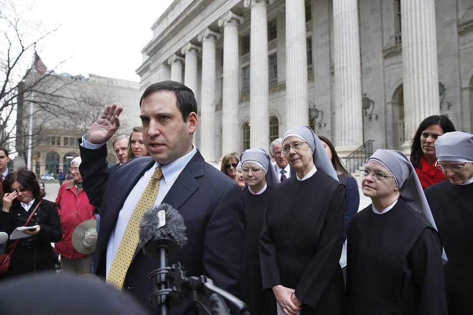 Attorney Mark Rienzi, who represents the Little Sisters of the Poor, speaks outside the 10th U.S. Circuit Court of Appeals, in Denver. (Photo by AP)