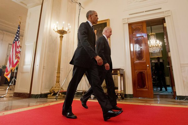 Obama and Biden after remarks Iran nuke deal. (Photo by NY Times)
