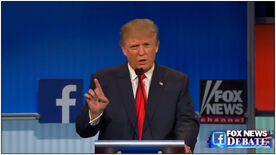 Donald Trump during the Republican Presidential Debate