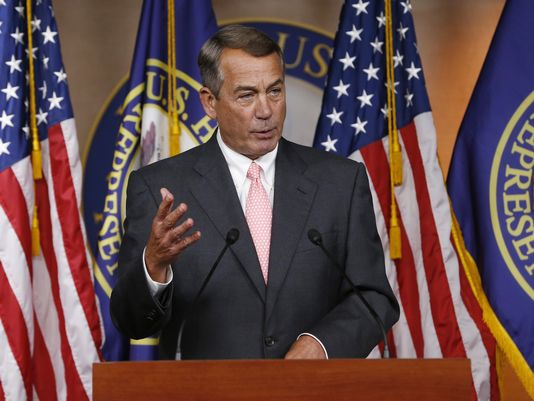 Boehner declares in front of his co-Republicans that he will resign from Congress.