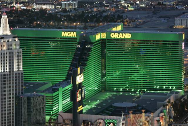 Exterior of the MGM Grand hotel-casino is shown from the M Resort Blimp on Wednesday, March 18, 2009. (Photo by Duane Prokop, Las Vegas Review-Journal)