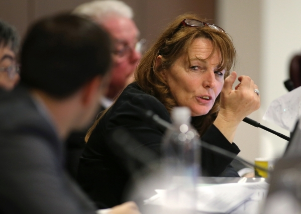 Nevada Assembly Minority Leader Marilyn Kirkpatrick, D-North Las Vegas, talks with Assembly Taxation Chairman Derek Armstrong during a committee hearing at the Legislative Building in Carson City. (Photo by Cathleen Allison, Las Vegas Review-Journal)