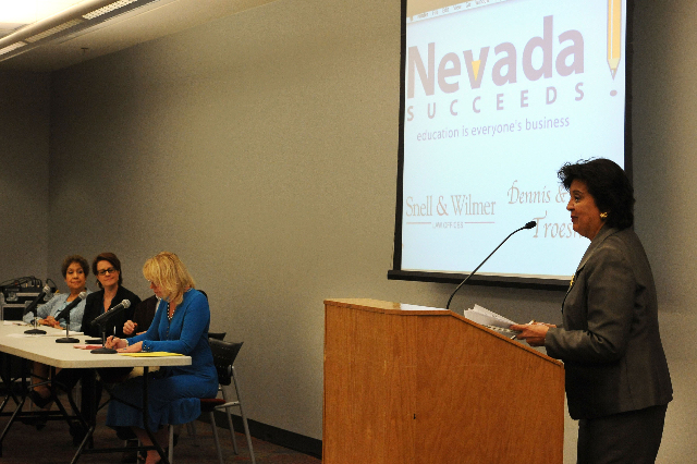 Sylvia Lazos expresses her views on Nevada's current education system. (Photo by Jerry Henkel of Las Vegas Review-Journal)