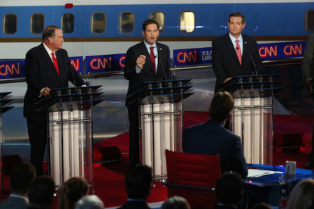 Republican presidential candidates Mike Huckabee, U.S. Sen. Marco Rubio (R-FL) and U.S. Sen. Ted Cruz (R-TX) take part in the presidential debates at the Reagan Library on September 16, 2015 in Simi Valley, California. Fifteen Republican presidential candidates are participating in the second set of Republican presidential debates.  (Photo by Justin Sullivan, Getty Images)