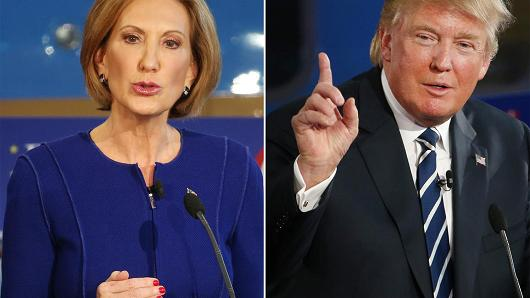 Republican presidential candidates Carly Fiorina and Donald Trump take part in the presidential debates at the Reagan Library on September 16, 2015 in Simi Valley, California. (Source: Getty Images)