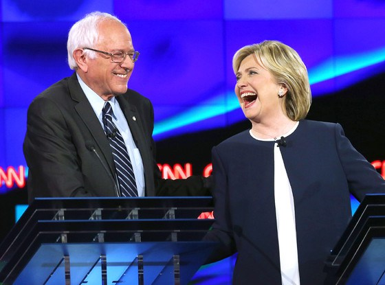 Hillary and Bernie yuck it up over the silly emails. (Source: Getty Images)