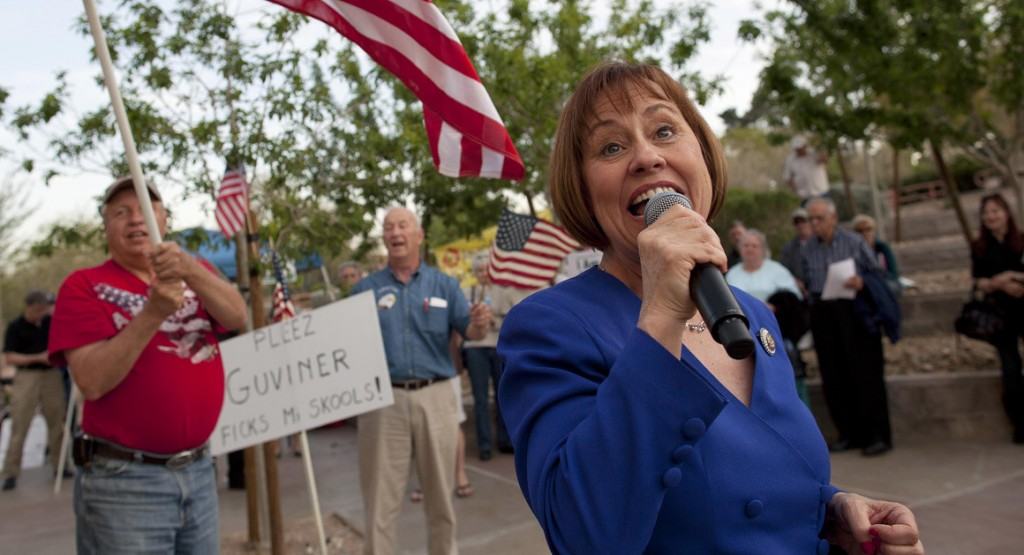 Sharron Angle sings during a rally by tea party supporters in Las Vegas in April 2011. (Source: Associated Press)