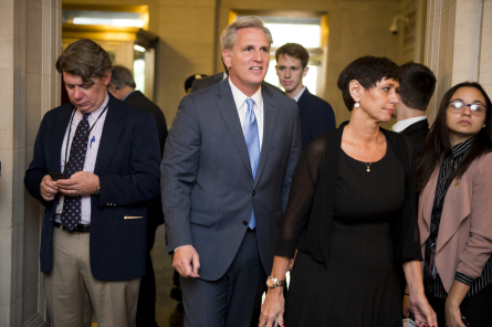 """""""I am not the one"""" are the final words of House Majority Leader Kevin McCarthy when he announces he is leaving the race for House Speaker. (Photo By Bill Clark, CQ Roll Call)"""