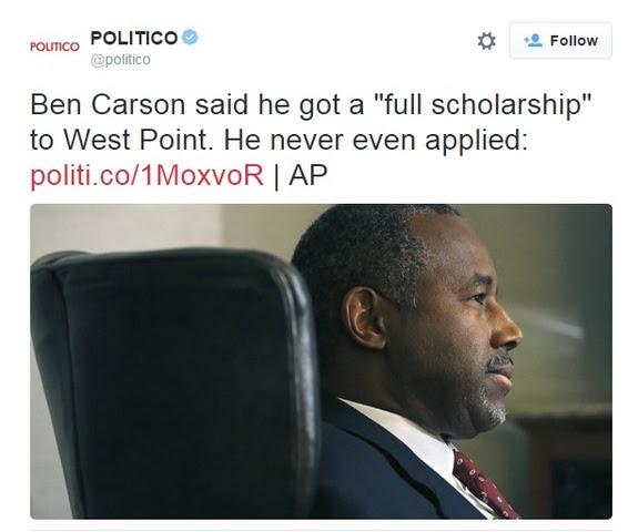 Politico tweet about Carson