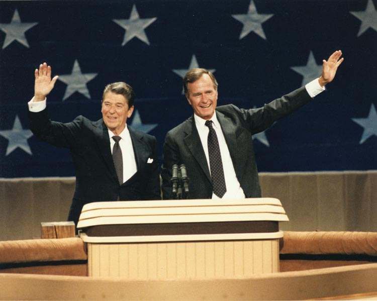 U.S. Presidents Ronald Reagan and George H.W. Bush
