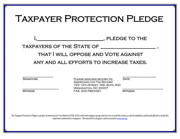 Taxpayer Protection Pledge - blank