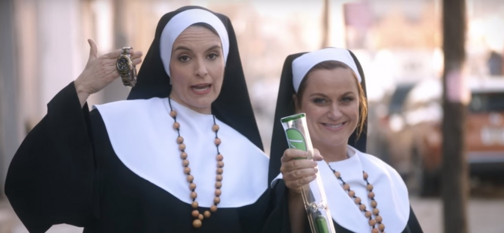 """These are not the nuns Merced is looking for. This Tina Fey & Amy Poehler as pot-smoking nuns in yet-to-be-released """"Sisters"""" movie promo"""