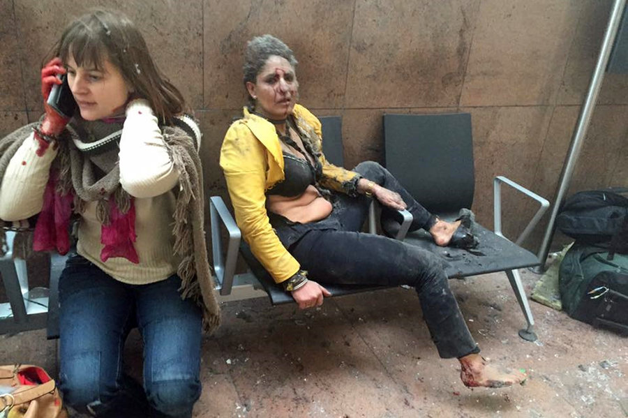 Bloodied victims of Tuesday's terrorist bombing in Brussels