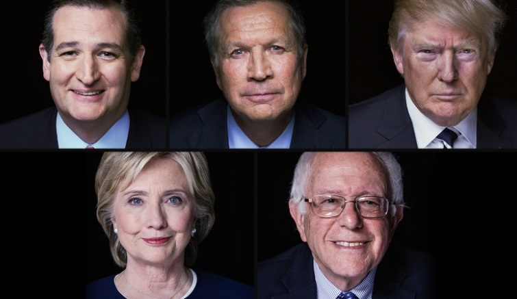 Three Republicans (Donald Trump, Ted Cruz, and John Kasich) and two Democrats (Hillary Clinton and Bernie Sanders) are playing the puzzle to the general election, after completing more than half of the country's primary elections and still waiting for other primaries. (Courtesy: CNN)